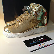 NIKE AIR LUNAR FORCE UK 8.5 9.5 ONE 1 LIQUID METAL GOLD SP 652845-770 Metallic