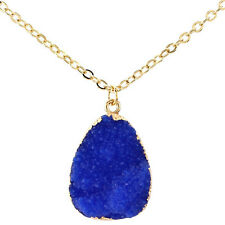 Lady Natural Druzy Rock Crystal Quartz Clusters Geode Stone Pendant Necklace