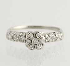 Vintage Diamond Engagement Ring - 14k White Gold Size 6 1/2 Genuine .33ctw