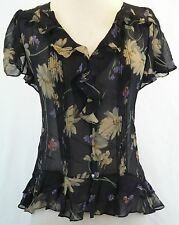 Polo Ralph Lauren New Floral Ruffled Silk Blouse Size 12 MSRP $245 #T 584