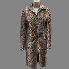 KAREN MILLEN Faux Fur Leopard Print Pony Feel Long Posh Mac Coat Jacket 10 UK