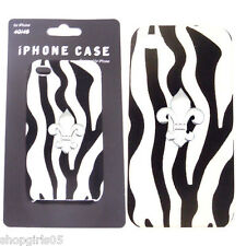 NEW! Zebra Print  Bling  Rhinestone Aluminium Case Cover For iPhone  4S 4G