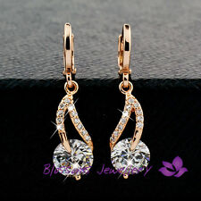 9K 9CT Rose GOLD GF Ladies WEDDING Hoop DANGLE EARRINGS SWAROVSKI CRYSTAL EX478