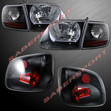 97.8-00 FORD F-150 SVT STYLE BLACK HEADLIGHTS + CORNER + FLARESIDE TAIL LIGHTS