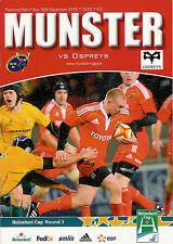 Munster v Ospreys Heineken Cup 12 Dec 2010 Thomond Park,Limerick RUGBY PROGRAMME