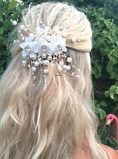 Ivory Spray Pearl Beaded Diamond Hair Clip Comb Slide Choochie Choo Bridal Bride