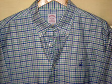 BROOKS BROTHERS NON-IRON EMBROIDER LOGO BABY BLUE SEAFOM GREEN SHIRT-BUTTONS- L