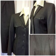 Next Ladies Grey Wool Flannel Military Fitted Taper Leg Trouser Suit Uk Size 10