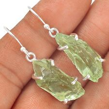 Natural Green Amethyst Rough 925 Sterling Silver Earrings Jewelry SE126615