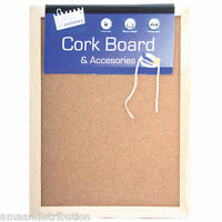 SMALL CORK NOTICE BOARD PIN MEMO WOODEN FRAMED OFFICE WALL SCHOOL KITCHEN