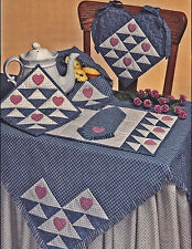 SEWING PATTERN Valentine Heart Quilted Tablecloth Runner Placemat +More UNCUT