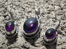 Handmade ethnic silver plated earrings and pendant with purple cabochons