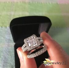 14K White Gold Women's Princess Diamond Engagement Ring Wedding Band Bridal Set