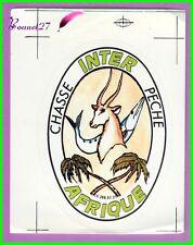 Ancien Autocollant Inter Afrique Chasse et péche Poisson Gazelle Palmier