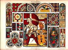1894 ORNAMENTS STAINED GLASS WINDOW PAINTING Antique Chromolithograph Print