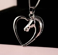 Silver Horse Heart Pendant Necklace w/Free Jewelry Box and Shipping