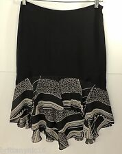 ~~ SO GLAM!!~~  Ralph Lauren Black Label Black 100% Silk Mullet Skirt Sz 6 #503