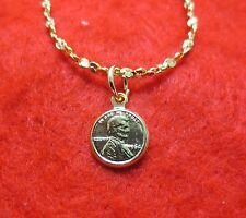 """14KT  GOLD EP 18 INCH 2MM TWISTED NUGGET  NECKLACE W/ A MINI """"LUCKY"""" PENNY"""