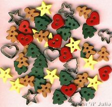 ITTY BITTY CUT OUT COOKIES Gingerbread Man Heart Star Dress It Up Craft Buttons