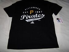 NWT Adidas MLB Pittsburgh Pirates Black White Gold Baseball Shirt  Large 14/16