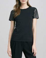 VM047 NWT VINCE LEATHER SLEEVES WOMEN TEE SIZE M in Dark Gray $195