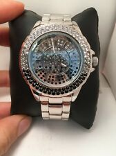 Elgin Oversized Silver Case Clear to Black Swarovski Crystal Watch ELST32A-R11