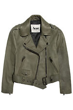 NWT $1200 ACNE STUDIOS MAPE Reptile Embossed Leather Olive Green Jacket 36 XS-S