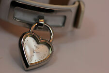 Ladies GUESS Heart Shaped Silver Dial White Leather Watch G66304L New Battery