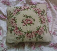 SALE! Wool Needlepoint Throw Toss Pillow Cushion Pink Cottage Rose Wreath Shabby