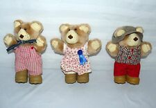 LOT SET OF 3 SMALL FUR SKINS 1986 BEARS BOOTS SOFT PLAY TOY FAMILY