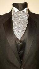 Mens Silver Black Red Ascot Cravat Pearl Vintage Victorian Dickens Edwardian