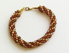 "FAB HANDMADE TOFFEE BROWN & LIGHT HONEY CLEAR BEADED KUMIHIMO BRACELET 8.5"" LONG"