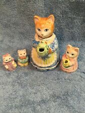Avon Source of Fine Collectibles 1992 Kitten Cat Teapot, Creamer, Salt Pepper