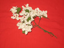 Vintage 1950s Millinery flower - White Cotton Stephanotis w/ leaves - Wire Stem