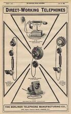 BERLINER TELEPHONE CO Direct Working Phones - Antique Engineering Advert 1905