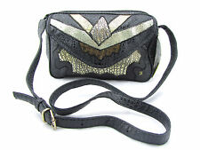 VINTAGE 80's Nas Frog Croc Embossed Faux Leather Black Patchwork Crossbody Bag