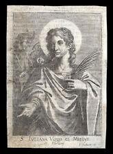 santino incisione 1600 S.GIULIANA DI NICOMEDIA V.M.