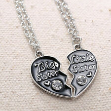Women Girl 2PCS Big Sister Little Sister Crystal Heart Pendant Necklace Jewelry