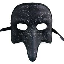 Medieval Plague Doctor Venetian Masquerade Mask with Details for Men [Black]