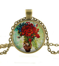 Van Gogh Red Flower Necklace - Poppy Vase Painting Art Pendant Gifts For Women