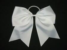 "NEW ""WHITE"" Cheer Bow Pony Tail 3 Inch Ribbon Girls Hair Bows Cheerleading"
