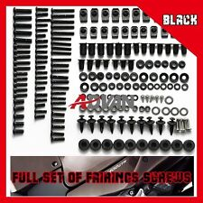 161PCS Black Full Fairing Bolt Kit Fasteners Nuts Screws KAWASAKI ZX-12R 00-05