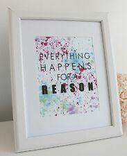 Typography 'Everything Happens' Quote Art Print A4 Modern Wall Art Home Decor