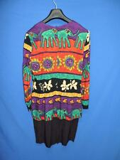Vintage 80s M 10 Purple Red Green Gold Elephant Sunflower Stripe Dress Overshirt
