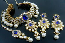 BLUE KUNDAN CZ PEARL GOLD TONE INDIAN TRADITIONAL CHOKER NECKLACE SET JEWELRY