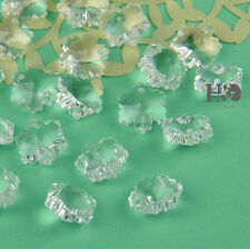 200PCS 14MM Clear Sparkly Crystal Snowflake beads Decor Crystal chandelier parts