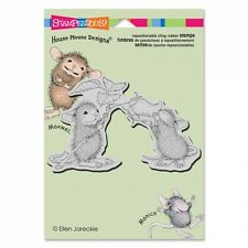 HOUSE MOUSE RUBBER STAMPS CLING SMELL THE ROSES NEW STAMP
