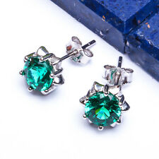 NEW Round 8MM Emerald CZ STUDS .925 Sterling Silver Earrings BEST SELLER!