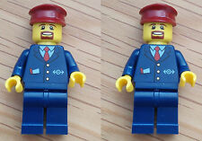 2 x LEGO Train Driver Conductor Worker from set 60051