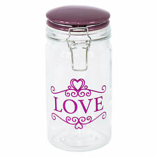 1.1L Glass Love Ceramic Lid Storage Canister Jar Container Pasta Flour Biscuit